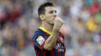 Opora Barcelony Lionel Messi slaví gól.