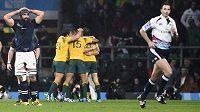Ragbisté Austrálie (ve žlutém) slaví postup do semifinále, zatímco rozhodčí Craig Joubert (vpravo) prchá ze hřiště.