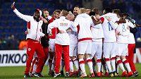 Hráči Slavie slaví postup do osmifinále Evropské ligy. Belgický Genk deklasovali na jeho hřišti 4:1.