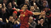 Útočník Liverpoolu Luis Suárez se raduje po jednom ze svých čtyř gólů do sítě Norwiche.