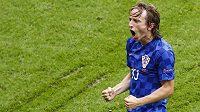 Radost v podání chorvatského záložníka Luky Modriče z gólu proti Turkům.