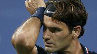 Rozčarovaný Roger Federer.
