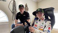 Oliver Solberg s otcem Petterem, bývalým mistrem světa v rallye.