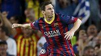 Útočník Barcelony Lionel Messi a jeho radost po vstřelení gólu.