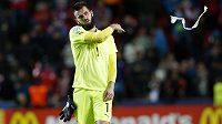 Zklamaný český brankář Tomáš Koubek po skončení zápasu s Německem.