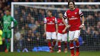 Zklamaný Tomáš Rosický po další porážce Arsenalu, tentokrát na hřišti Evertonu.