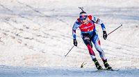 Ondřej Moravec při sprintu v Hochfilzenu.