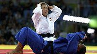 Japonská judistka Haruka Tačimotová se raduej z olympijského triumfu v kategorii do 70 kg.