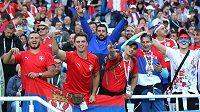 Srbští fanoušci během utkání na MS v Rusku.