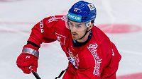 Filip Zadina na středečním tréninku české hokejové reprezentace.