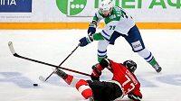 Z finálové série Východní konference KHL Omsk - Ufa.