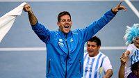 Argentinský tenista Juan Martin del Potro oslavuje vítězství v Davis Cupu.