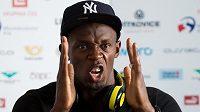 Jamajský sprinter Usain Bolt, největší hvězda atletického mítinku Zlatá tretra, na tiskové konferenci v Ostravě