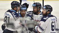 Vítkovičtí hokejisté se radují z gólu. Zleva Tomáš Černý, Ondřej Roman, Roberts Bukarts a Peter Trška.