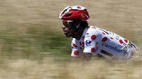 Trochu nečekaný držitel puntíkatého dresu pro nejlepšího vrchaře Tour - eritrejský cyklista Daniel Teklehaimanot z týmu MTN-Qhubeka.