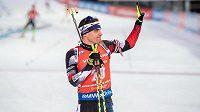 Český biatlonista Michal Krčmář v cíli stíhacího závodu v rámci Světového poháru v Novém Městě na Moravě.