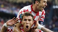 Chorvatská radost po vstřelení gólu do sítě Itálie.