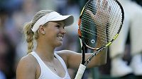 Caroline Wozniacká na letošním Wimbledonu.