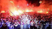 Chorvatští fanoušci v Záhřebu během sledování semifinále fotbalového MS proti Anglii.