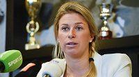 Tenistka Andrea Sestini Hlaváčková na tiskové konferenci