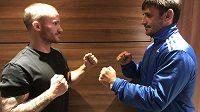 Michal Hamršmíd (vlevo) a Petr Mai. Dvojice, která zakončí galavečer legend MMA 12. října na Podvinným mlýně.