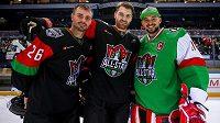 Utkání hvězd KHL se zúčastnili i čtyři Češi – Michal Řepík (vlevo), Jakub Nakládal (uprostřed), Jakub Kovář (vpravo) a Jan Kolář (není na snímku).