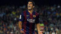 Útočník Barcelony Luis Suárez po neproměněné šanci v utkání se Celtou Vigo.