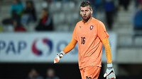 Brankář české jednadvacítky Lukáš Zima v zápase proti Belgii.