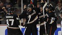 Teemu Selänne (8) oslavuje se spoluhráči z Anaheimu vítězný gól proti Calgary.