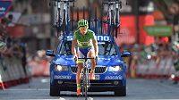 Slovenský cyklista Peter Sagan dojíždí do cíle 8. etapy loňské Vuelty.