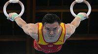 Čínský gymnasta Liou Jang cvičí svou vítěznou sestavu na kruzích.