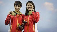 Čchen Žuo-lin a Liou Chuej-sia slaví zlato v soutěži synchro z desetimetrové věže.