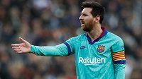 Barcelonská hvězda Lionel Messi a jeho nazlobená reakce.