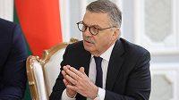 Šéf Mezinárodní hokejové faderace (IIHF) René Fasel na jednání v Minsku ohledně dějiště letošního MS.
