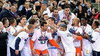Fotbalisté Neapole slaví vítězství v Italském poháru.