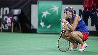 Petra Kvitová se v zápase s Monikou Niculescuovou trápila.