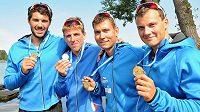 Posádka zlatého čtyřkajaku, zleva Josef Dostál, Lukáš Trefil, Daniel Havel a Jan Štěrba.
