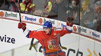 Český útočník Tomáš Nosek oslavuje první gól během utkání Euro Hockey Challenge, Česká republika - Norsko na zimním stadiónu Kotlina v Havlíčkově Brodu.