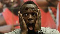 Jamajčan Usain Bolt na tiskové konferenci před Zlatou tretrou.