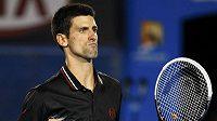 Radostné gesto Novaka Djokoviče během finálového zápasu Australian Open.