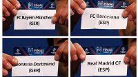 V semifinále fotbalové Ligy mistrů změří síly Bayern Mnichov s Barcelonou, druhou dvojici tvoří Borussia Dortmund a Real Madrid.