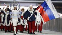 Nástup ruských sportovců na ZOH v Soči. Vlajkonošem byl bobista Alexander Zubkov.