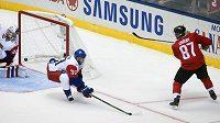 Sidney Crosby se nemýlil, brankář Michal Neuvirth je překonán. Kanada - Česko 1:0 na Světovém poháru.