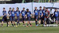 Italská fotbalová reprezentace během tréninku v Mangaratibě.