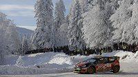 Český jezdec Martin Prokop na letošní Rallye Monte Carlo.