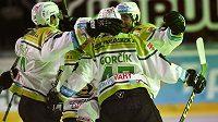 Karlovarští hokejisté se radují z gólu.