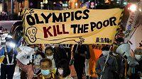 Další vlna protestů proti olymiádě v Tokiu proběhla o víkendu.