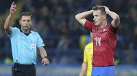 Rozčarovaný Jakub Jankto poté, co v první půli spálil skvělou gólovou příležitost.