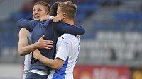 Fotbalisté Ostravy se radují z vítězství v Olomouci.