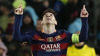 Hvězdný Lionel Messi z Barcelony slaví gól proti Arsenalu.